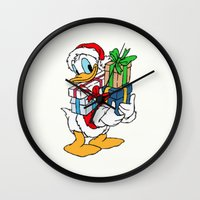 donald duck Wall Clocks featuring Donald Duck with christmas gifts by Yuliya L