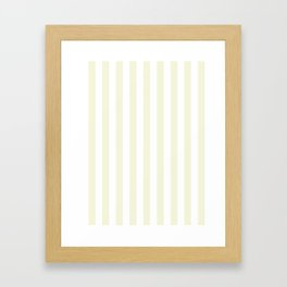 Narrow Vertical Stripes - White and Beige Framed Art Print