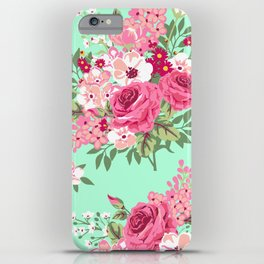 Cottage Chic Roses and Lilacs Floral in Aqua and Pink iPhone Case