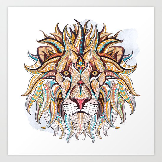 Brown Ethnic Lion Art Print