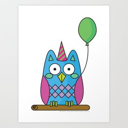 Nutty the Owl - Party Animal Art Print