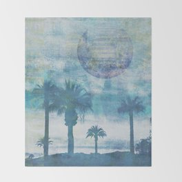 Pacific Paradise Island Blue Moon Throw Blanket