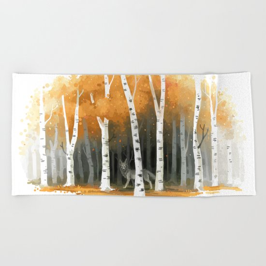 Autumn Wolf Beach Towel