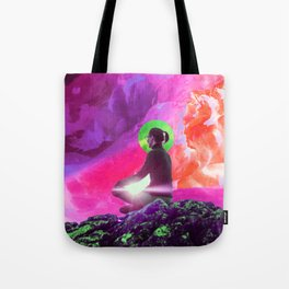 """Listen to the Silence"" - Surreal Meditation Collage Tote Bag"