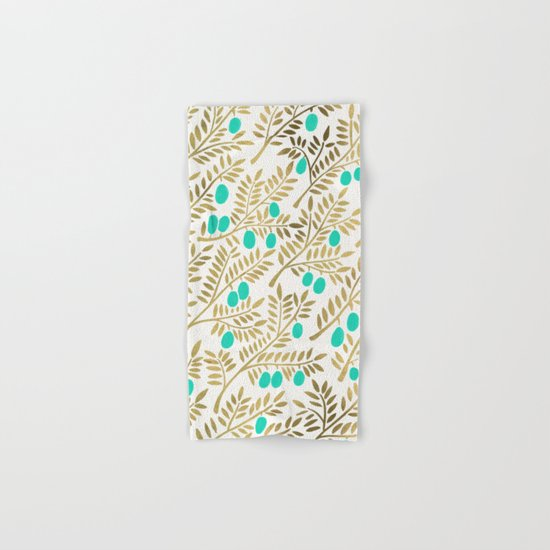 Gold & Turquoise Olive Branches Hand & Bath Towel