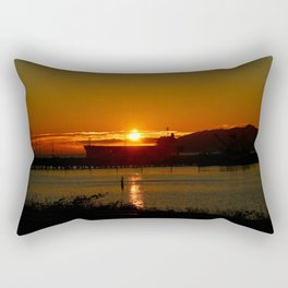 Sunset Over Columbia River At Astoria Harbor Rectangular Pillow