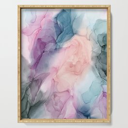 Dark and Pastel Ethereal- Original Fluid Art Painting Serving Tray