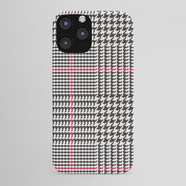 Black and White Glen Plaid with Red Stripe iPhone Case