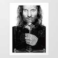 aragorn Art Prints featuring Aragorn by Rik Reimert