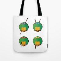 ninja turtles Tote Bags featuring Ninja Turtles by East Atlantic Design