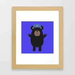 Happy Grizzly Police Framed Art Print