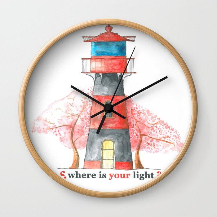 Lighthouse&Sacura Wall Clock