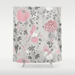 Field of Flowers on Grey Shower Curtain
