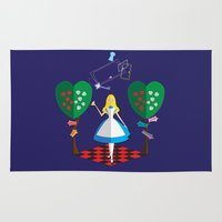 alice wonderland Area & Throw Rugs featuring Wonderland by AmadeuxArt