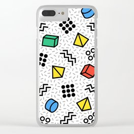 Abstract Memphis Style Pattern Clear iPhone Case