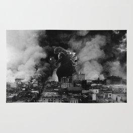 Old Time Godzilla San Francisco Fire Rug