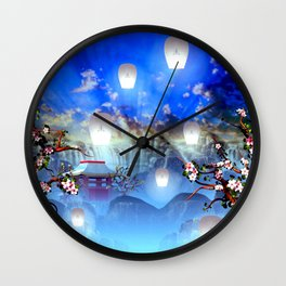 White lanterns with cherry blossom and mountain temple Wall Clock