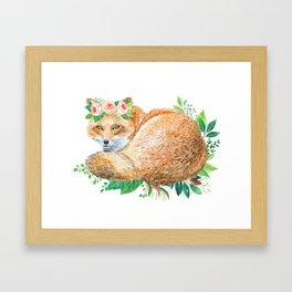cute fox with roses Framed Art Print