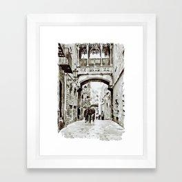Carrer del Bisbe - Barcelona Black and White Framed Art Print