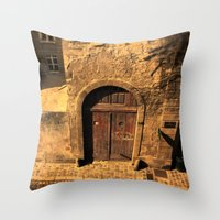 door Throw Pillows featuring door by Crazy Thoom