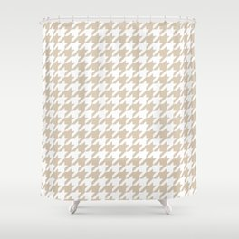 Houndstooth: Beige & White Checkered Design Shower Curtain