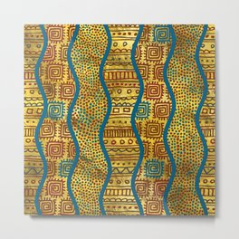 Ethnic Boho African Style pattern on Gold Metal Print