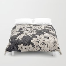 black and white lace- Photograph of vintage lace Duvet Cover