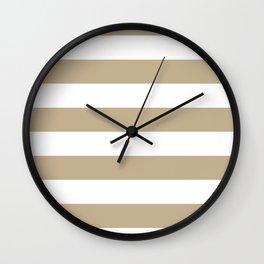 Horizontal Stripes - White and Khaki Brown Wall Clock