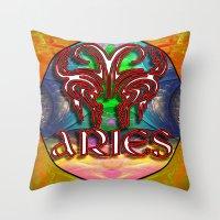 zodiac Throw Pillows featuring Aries Zodiac by CAP Artwork & Design