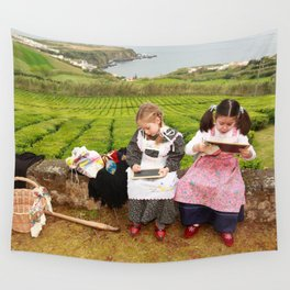 Children playing outside Wall Tapestry