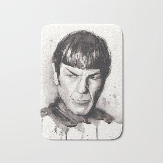 Spock Watercolor Portrait Bath Mat