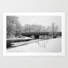 snowy bridge Art Print