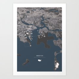 Bosston - City Map II Art Print