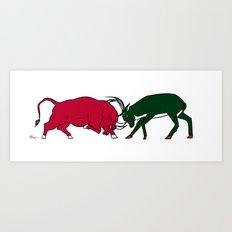Bulls vs Bucks Art Print