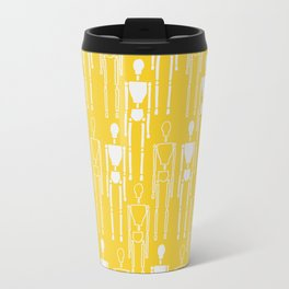 Mustard Yellow and White, Modern People Pattern. Travel Mug