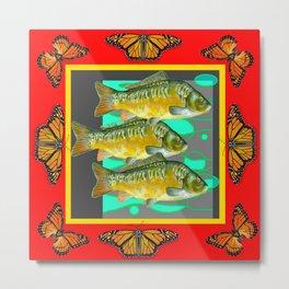MONARCH BUTTERFLIES YELLOW-RED FISH VIGNETTE Metal Print