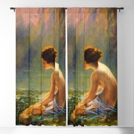 Classical Masterpiece 'Seated Nude by Lily Pond' by Louis Comfort Tiffany Blackout Curtain