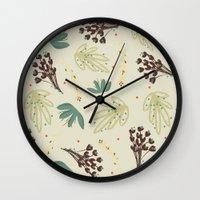 leaf Wall Clocks featuring leaf by Ceren Aksu Dikenci