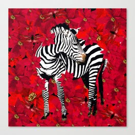 ZEBRA AND FLOWERS Canvas Print