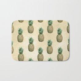 Vintage Pineapple Pattern Linen Bath Mat