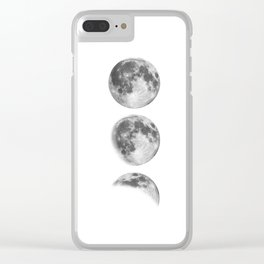 Full Moon cycle black-white photography print new lunar eclipse poster bedroom home wall decor Clear iPhone Case