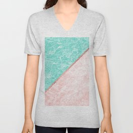 Turquoise teal pink rose gold geometrical marble Unisex V-Neck