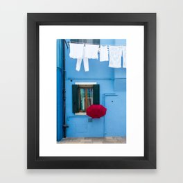 Burano, Italy Laundry Day Framed Art Print