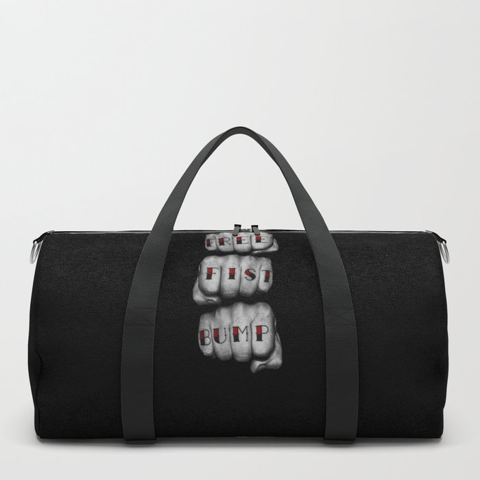 FREE FIST BUMP / Photograph of grungy fists with tattooed knuckles Duffle Bag