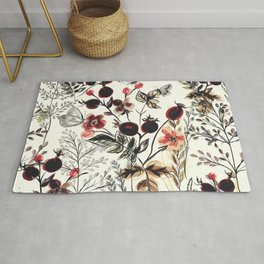Watercolor autum berries and foliage Rug