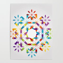 A large Colorful Christmas snowflake pattern- holiday season gifts- Happy new year gifts Poster