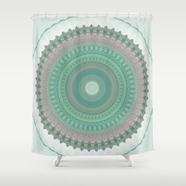 Sage Pastel Mandala Design Shower Curtain