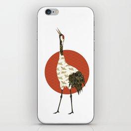 Japanese red crane iPhone Skin