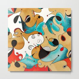 Abstract Tea Critters Metal Print