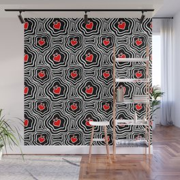 'I Love You Umlaut' Valentine's Pattern - Red, White and Black Block Print Wall Mural